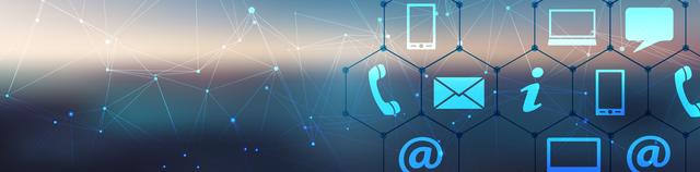 verschiedene Kommunikationsicons Telefon, Brief, Sprechblase