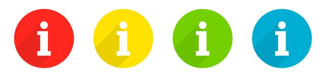 Mehrfarbige Informationssymbole auf weißen Grund
