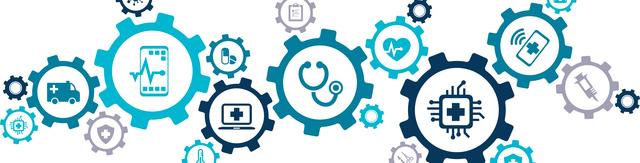 Zahnreder mit Symbolen für Gesundheitsinformationssysteme