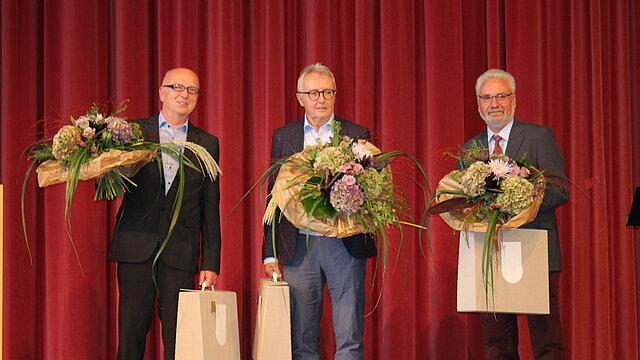 Herr Hinkel, Dr. med. Prager und Dr. med. Heide zur Verabschiedung am 23. September 2021 in Marienberg